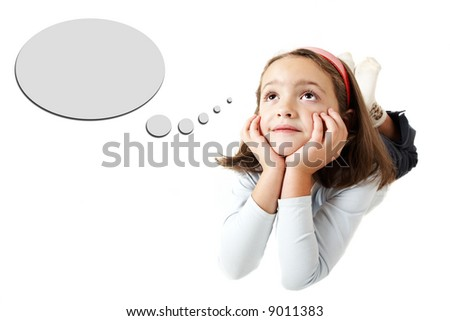 Six years old girl dreaming or thinking isolated on white background - stock photo