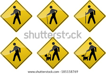 Six yellow diamond-shaped crossing signs showing symbols of various people. - stock photo