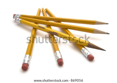 Six yellow pencils with rubber ends