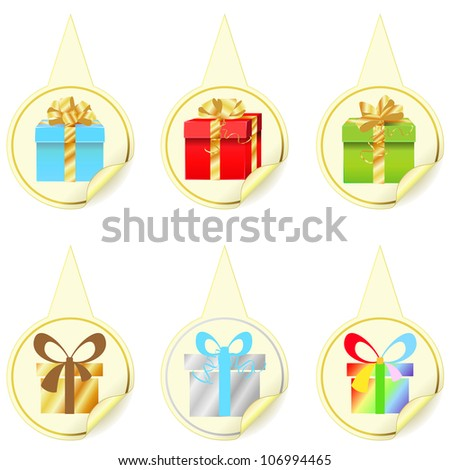 Six yellow pointers with different colorful presents