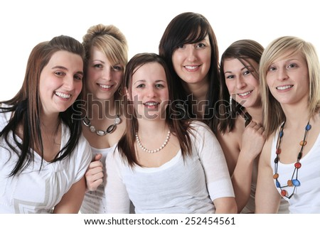 Six young woman in studio white background