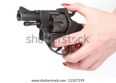 sixshooter in hand isolated on white background - stock photo