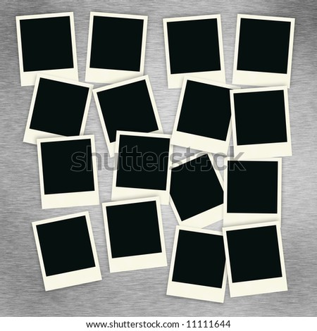 Sixteen blank instant photo images on a brush alluminum background.