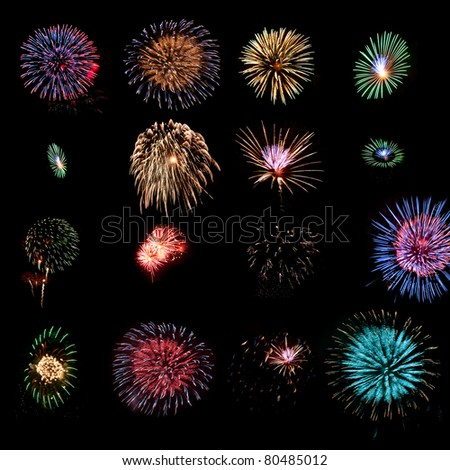 Sixteen different fireworks explosions as design elements - stock photo
