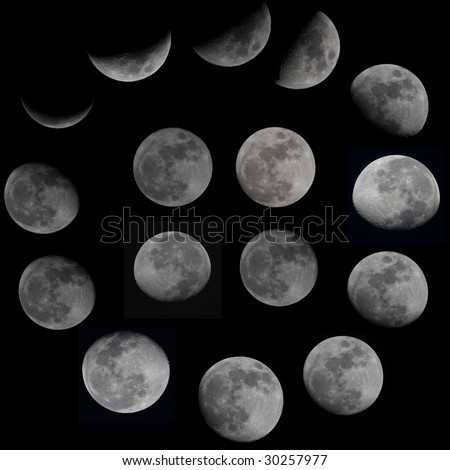 sixteen Moon phases