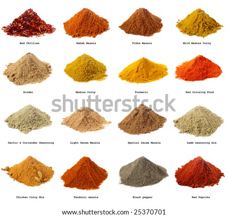 sixteen piles of Indian powder spices with its names isolated on white - stock photo