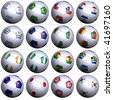 Sixteen soccer balls of Nations competing in the South Africa Soccer World Cup 2010, isolated. South America with 5 teams, Oceania,  Africa with 6 teams, and Asia with 4 teams in alphabetical order. - stock photo