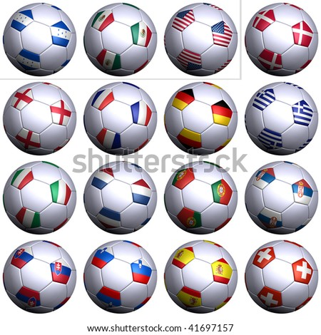 Sixteen soccer balls of Nations competing in the South Africa Soccer World Cup 2010, isolated. North America, Central America with three teams and Europe with thirteen teams in alphabetical order. - stock photo