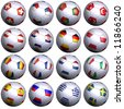 Sixteen soccer-balls with the flags of all participating teams in the UEFA 2008. Hi-res 3D render with clipping path. - stock photo