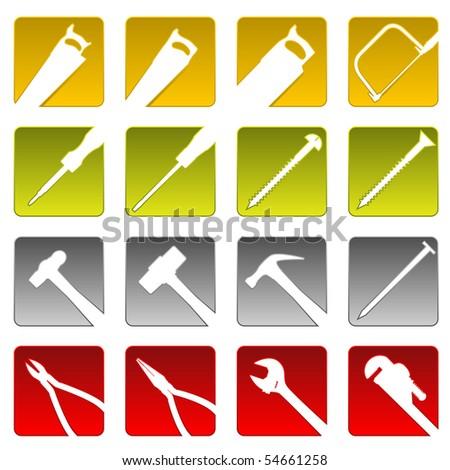Sixteen tool icons - raster - stock photo