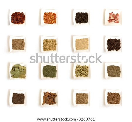 sixteen Various kinds of spices in a bowl. - stock photo