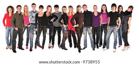 sixteen young people group - stock photo