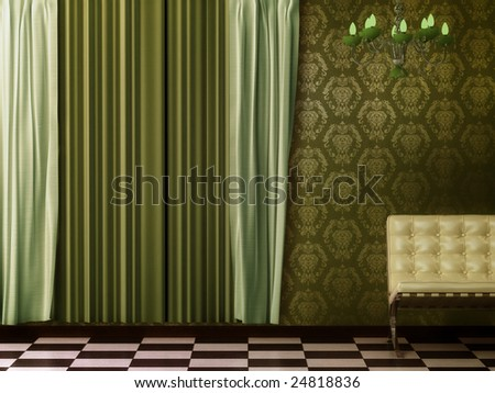 Sixties retro chic. Green curtain interior featuring a chandelier. - stock photo
