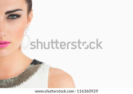 Sixties styled woman on white background