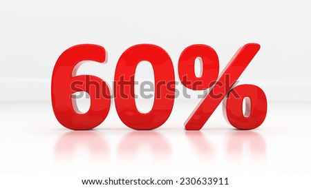 Sixty percent off. Discount 60.  Percentage. 3D illustration - stock photo