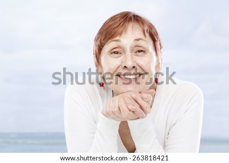 Sixty years woman in good mood - stock photo