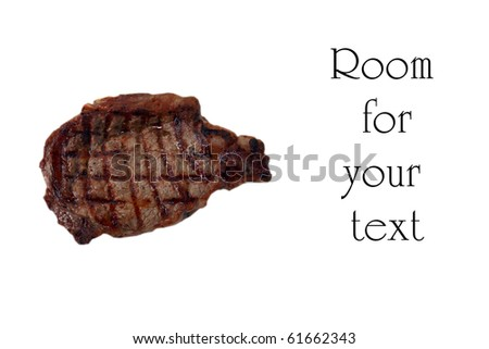 sizzling hot fresh grilled boneless rib eye steak isolated on white with barbecue grill marks in the meat - stock photo