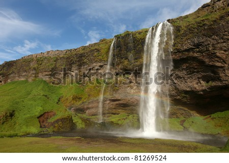 Skógafoss Waterfall (Iceland) - stock photo