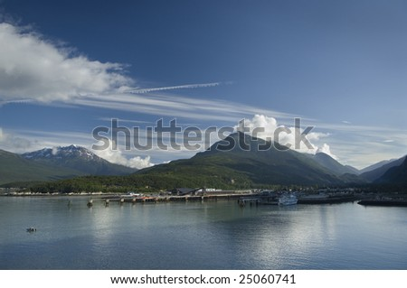 Skagway Bay Alaska's Inside Passage Looking Northeast across the harbor of Skagway, Alaska on a beautiful sunny morning. This is located along Alaska's Inside Passage.