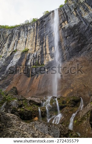 Skaklya is the highest waterfall on Balkan Peninsula - 141 meters. Skaklya is intermittent flowing waterfall - only during snow melt in spring and rains. Located nearly the town of Vratsa, Bulgaria.