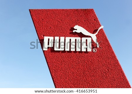 Skanderborg, Denmark - May 6, 2016: Puma logo. Puma is a major german multinational company that produces athletic, casual footwear, sportswear, headquartered in Germany