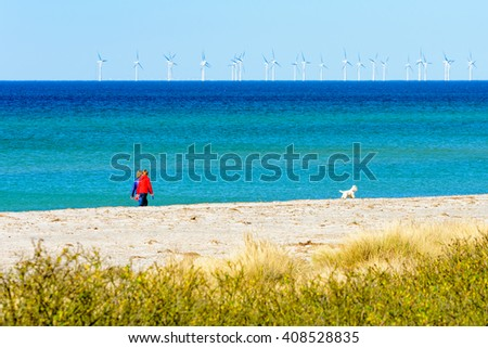 Skanor, Sweden - April 11, 2016: Two women walking a small and very cute dog on the sandy beach with open sea and wind farm or wind park out at sea. - stock photo