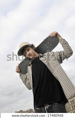 skate boarder portrait - stock photo