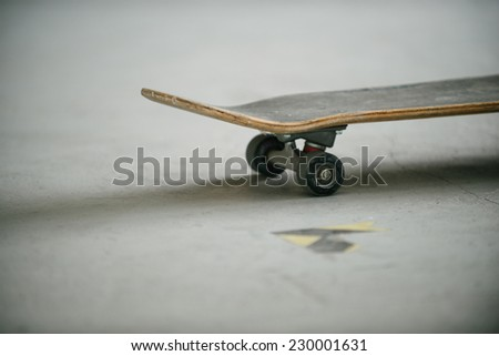 Skate culture. Skate on the concrete surface skate park - stock photo