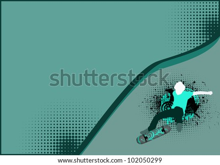 Skate jumping background with space (poster, web, leaflet, magazine)