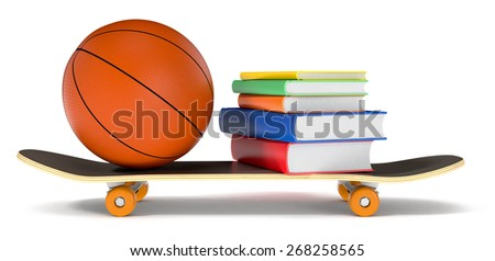 skateboard, basketball and books, concept of young generation (3d render) - stock photo