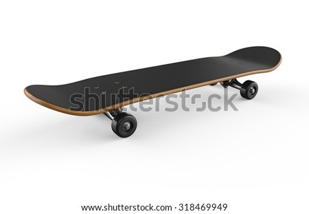 Skateboard deck isolated on a white background