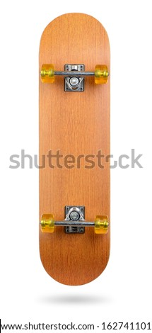 Skateboard deck isolated on white background. File contains a path to isolation.   - stock photo