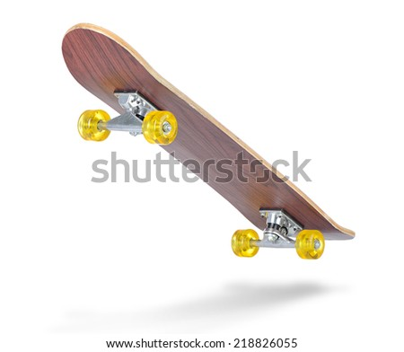 Skateboard deck on white background. File contains a path to isolation.  - stock photo