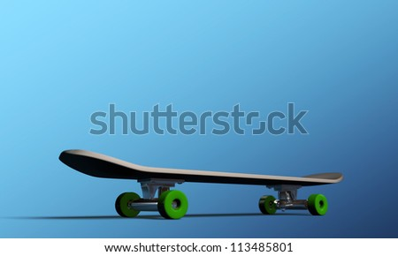 skateboard isolated on blue background - stock photo