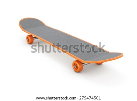 Skateboard isolated on white background. 3d illustration. - stock photo