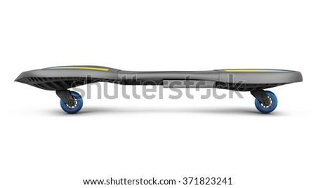 Skateboard isolated on white background. 3d render image. - stock photo