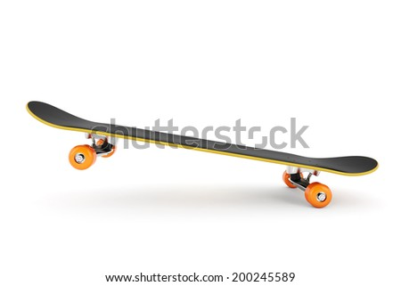 Skateboard on air isolated on white background  - stock photo