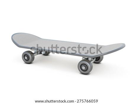 Skateboard on white. Board for driving. 3d illustration. - stock photo