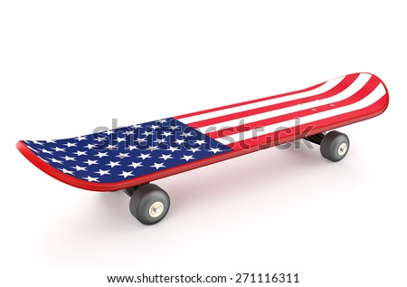 skateboard with USA flag isolated on white background - stock photo