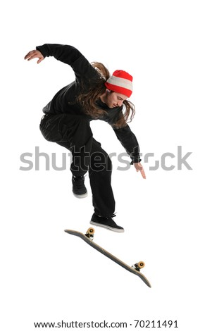 Skateboarder doing a trick isolated on a white background - stock photo