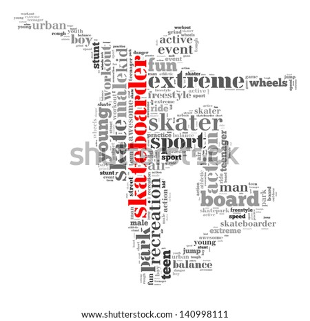 Skateboarder info-text graphic and arrangement concept on white background (word cloud)