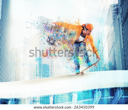 Skateboarder likes to roll through the city
