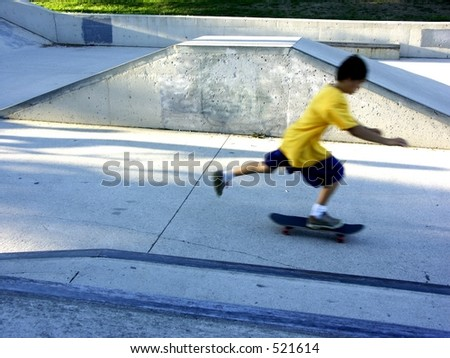 skateboarder movement - stock photo