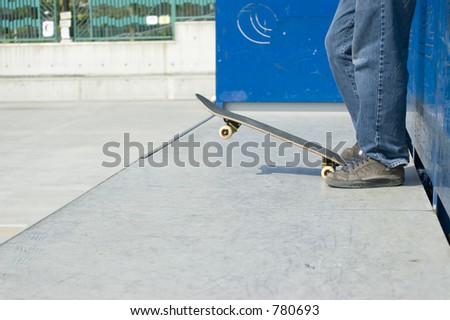 Skateboarder on ramp - stock photo