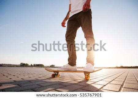 Skateboarder riding in the city