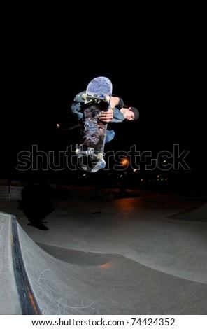 skateboarding at the skatepark. - stock photo