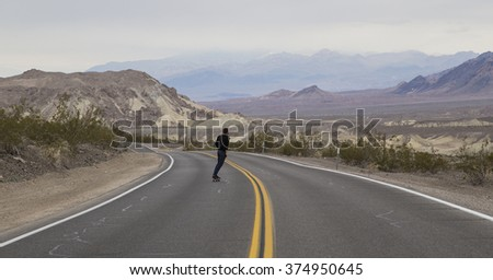 skateboarding in Death Valley National Park, USA