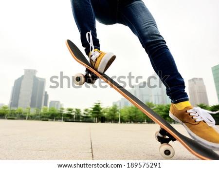 skateboarding in the city  - stock photo