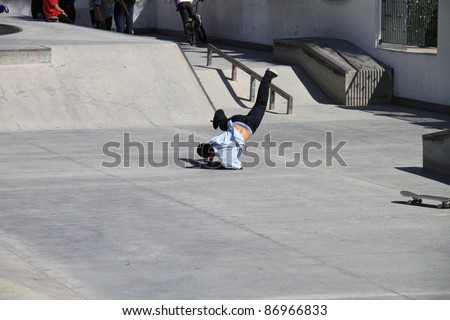 Skateboarding is a dangerous sport, resulting in many accidents and broken bones - stock photo