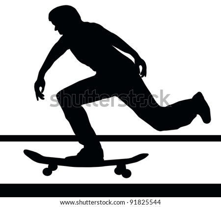 Skateboarding Skater Building Up Speed on Skateboard - stock photo